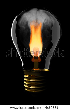 Burning match in the light bulb. isolated on black. - stock photo