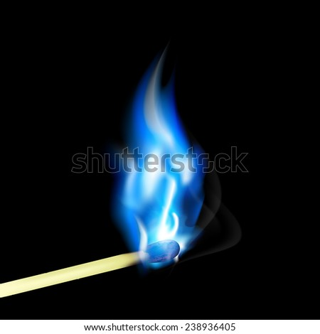 Burning match with blue flame - stock photo