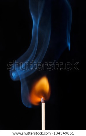 Burning Match with flame and smoke