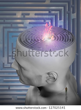 Burning maze of mind - stock photo