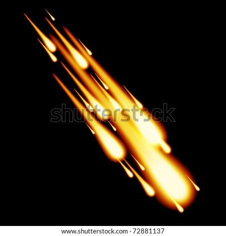 Burning meteor in the night sky - stock photo