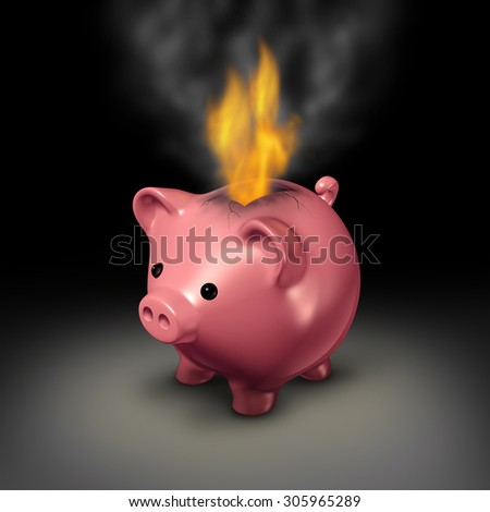Burning money and careless spending financial concept as a piggy bank with flames and smoke coming out because of currency on fire as a business or family budget debt crisis metaphor. - stock photo
