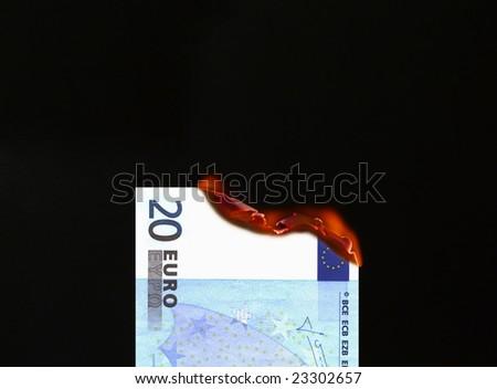 Burning money (Euro) - stock photo