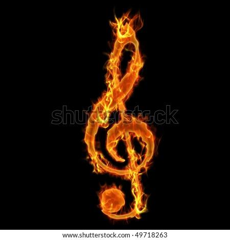 Burning Music Key - stock photo