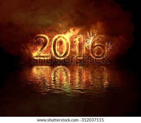 burning new year - stock photo