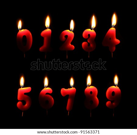 Burning number candles in dark - stock photo