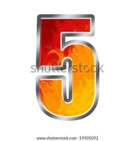 Burning numbers alphabet 5 five - stock photo