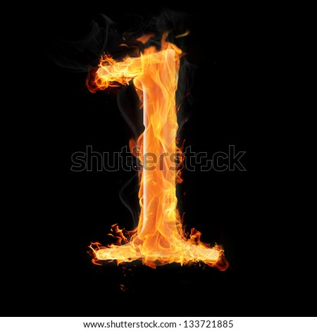 Burning numbers on black background - number one - stock photo