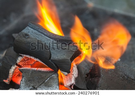 Burning of charcoal grill for BBQ party - stock photo