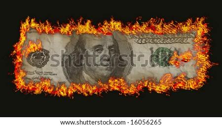 burning old hundred banknote on black background - stock photo
