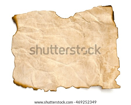 burning old paper sheet isolated on white