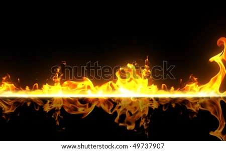 Burning on black background - stock photo