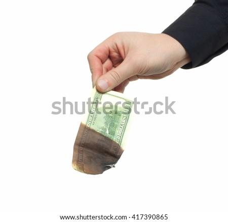 burning one hundred dollars - stock photo