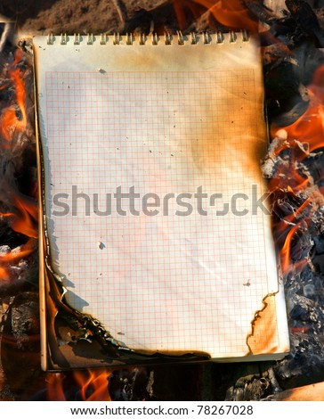 Burning paper, fire - stock photo