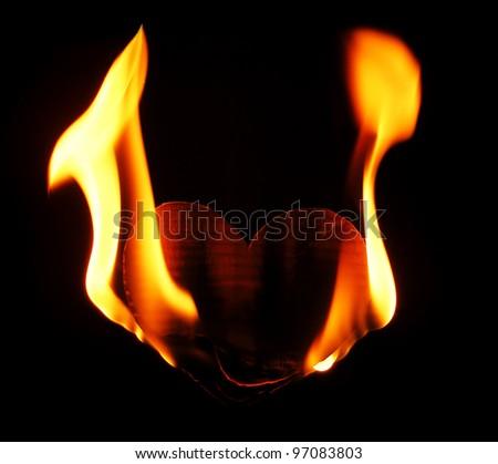 Burning paper heart - stock photo