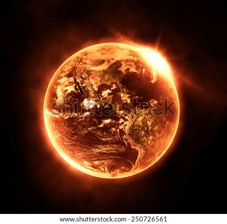 Burning Planet - Elements of this Image Furnished By NASA - stock photo