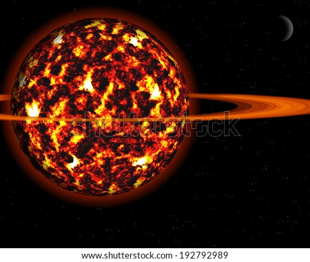 Burning Planet with Fiery Explosions, Thermal Winds and Swirling Turbulence - stock photo