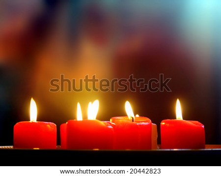 Burning red romantic Candles