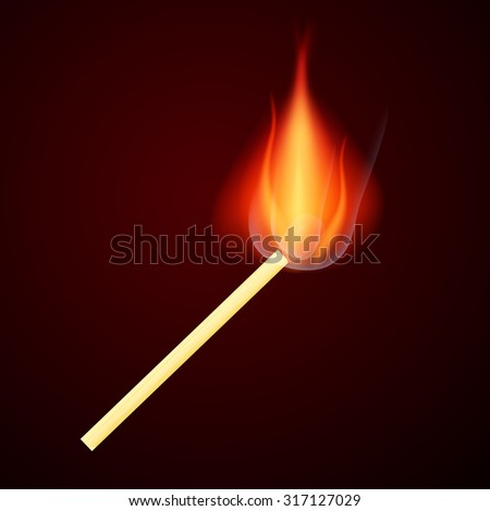 Burning Safety Match Illustration