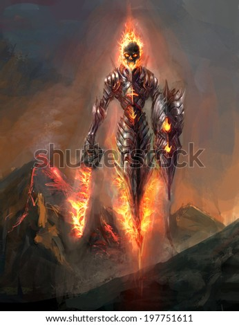 burning skeleton knight over volcano - stock photo