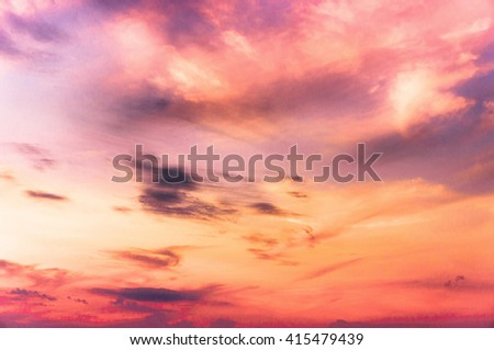 Burning Skies Evening Cloudscape  - stock photo