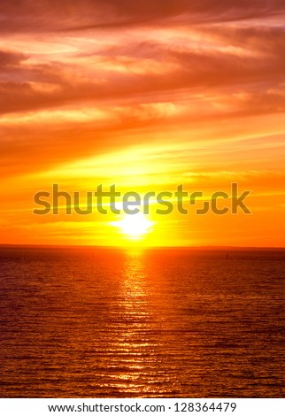 Burning Skies Evening Scene - stock photo
