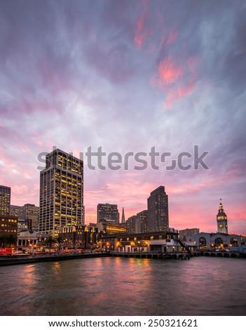 Burning Sky Over San Francisco - stock photo