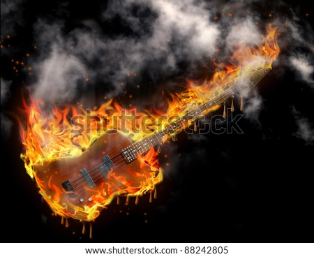 Burning smoking melting guitar in black space - stock photo