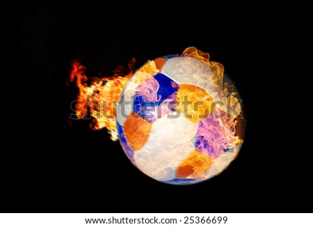 Burning Soccer Ball coming through the lens - stock photo