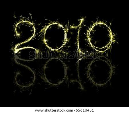 burning sparkler on New Year?s Eve - stock photo