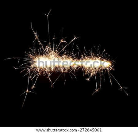 Burning sparklers isolated on black background. Sparks explosion. High resolution. - stock photo