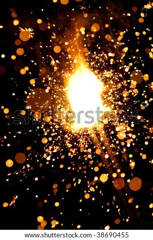 burning sparklers massive firework with large group of particles - stock photo