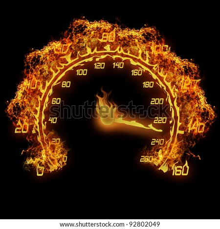 burning speedometer fire flame illustration on the black