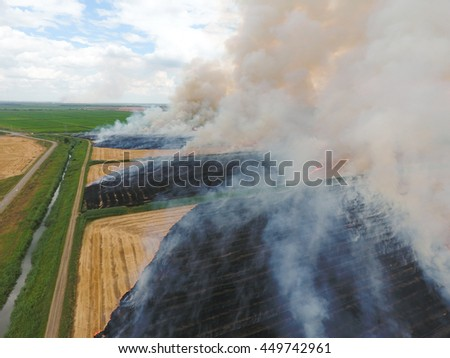 Burning straw in the fields of wheat after harvesting. The pollution of the atmosphere with smoke. - stock photo
