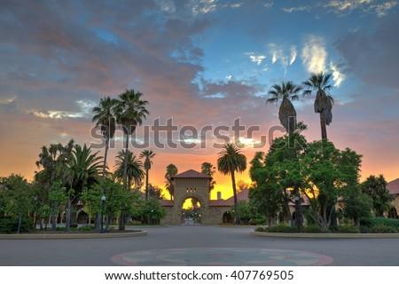 Burning sunset Stanford - stock photo