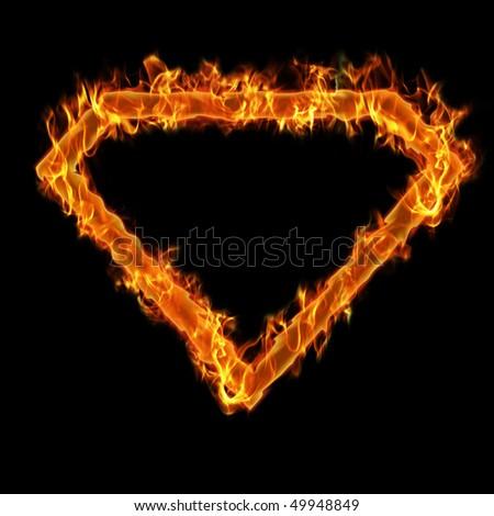 Burning superman frame - stock photo