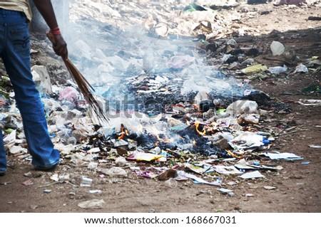 Burning Garbage Illegal Burning The Plastic Garbage