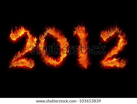 burning twenty twelve year apocalypsis fire on black 2012 - stock photo