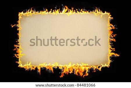 burning vintage paper - stock photo