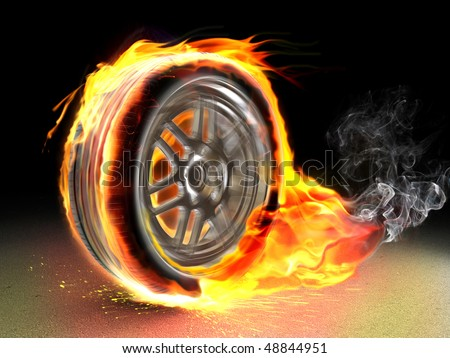 burning wheel - stock photo