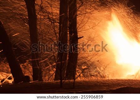 Burning wood house. Ruins. Dark night. Trees near the fire. - stock photo