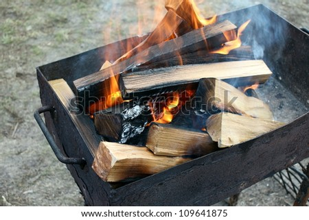 Burning wood in a brazier - stock photo