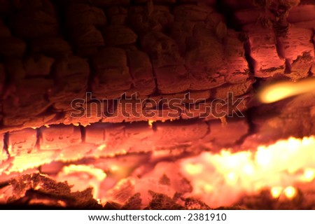 burning wood in fireplace close up shoot - stock photo