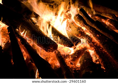 Burning wood on dark background