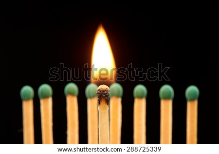 Burning wooden match standing in front of defocused set of eight green matches, isolated on black background - stock photo
