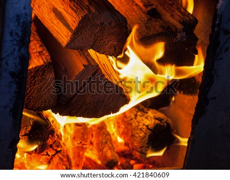 burning woods in the firebox, closeup shot