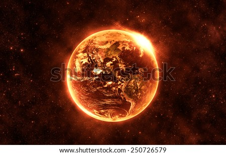 Burning World - Elements of this Image Furnished By NASA - stock photo