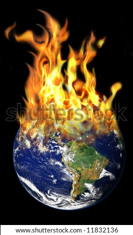 Burning World photo-manipulation - stock photo