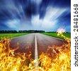 burninging road burning bright blaze - stock photo