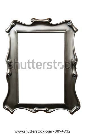 Burnished silver picture frame isolated on white with clipping path - stock photo